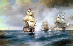 "Бриг ""Меркурий"", атакованный двумя турецкими кораблями"