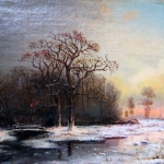 Художник: Юлий Клевер. Картина: Зимний пейзаж. 1876 г. Winter Landscape.